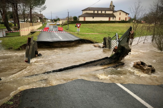 A bridge carried away by flooding in the village of Gouts. Storm Bella: Floods cut power and roads in southwest France