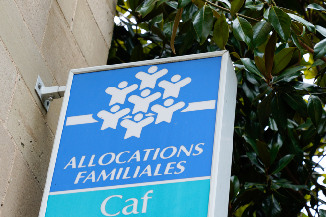 Caisse allocations familiales logo and text sign of caf agency for Family Allowances Fund office, Bordeaux, France. France cracks down on benefit fraud with new 'super checker' taskforce