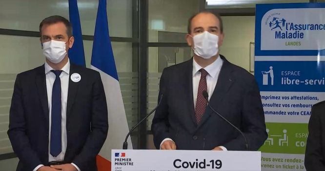 Mr Castex and Mr Veran speak at a press conference in Landes, 24 June. 70% of Covid cases in Landes now Delta variant