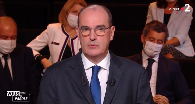 Jean Castex speaks on television. French PM 'not ruling out' second lockdown amid record cases