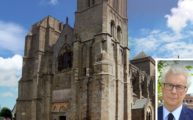 The Brittany cathedral and author Ken Follett. UK author Ken Follet donates €150,000 for Brittany cathedral
