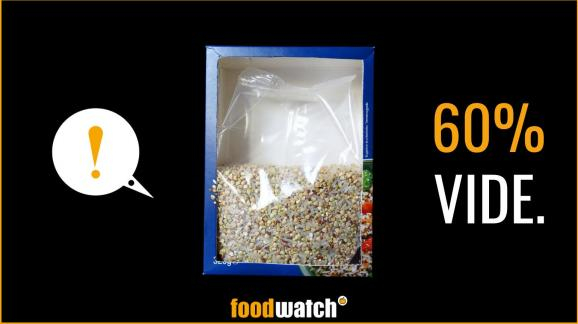 A half-empty food package. Petition against 'half empty' food packaging sold in France