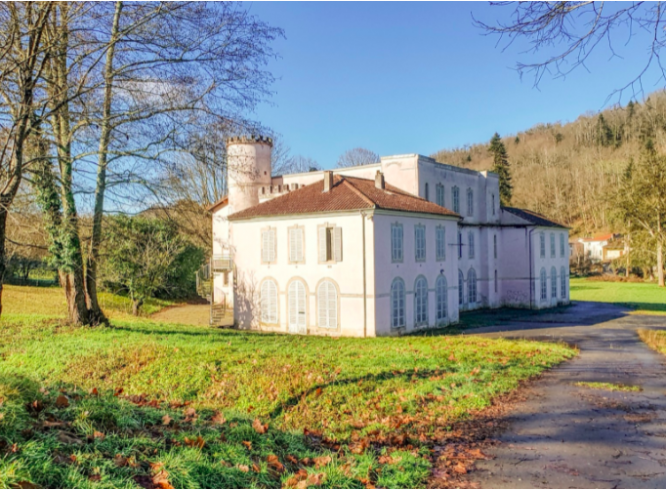 Exterior of the Château de Nescus. 18th century château in southwest France up for auction from €90,000