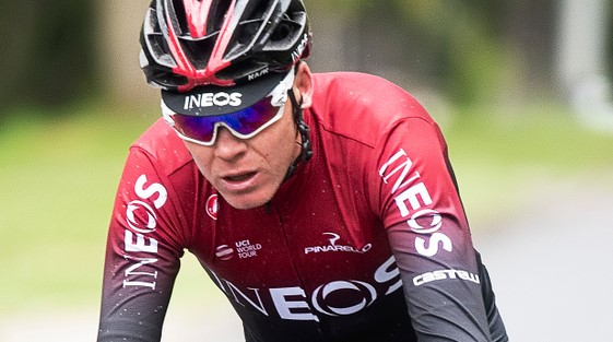 Chris Froome forTeam Ineos racing in the Tour de Yorkshire stage 2. Chris Froome shares joke after French newsman fails to recognise him