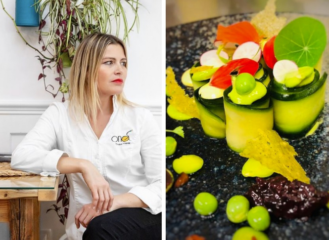 Chef Vallee on the left and one of her dishes on the right. Michelin 2021: Vegan restaurant first in France to win star