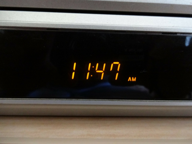 digital clock orange on black