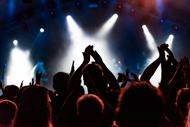 A crowd watches a gig. France uses 'test concerts' to study public venue Covid risk