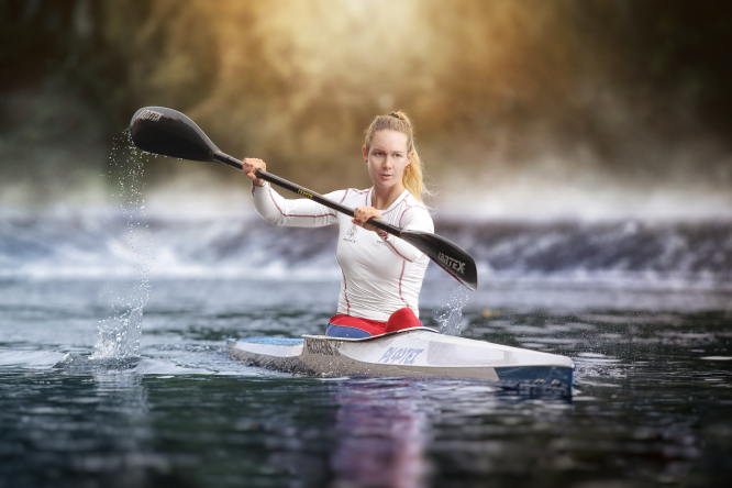Connexion's Jane Hanks interviews Manon Hostens, elite athlete and world champion kayaker. Photo (c) Luc Fauret Photographe.