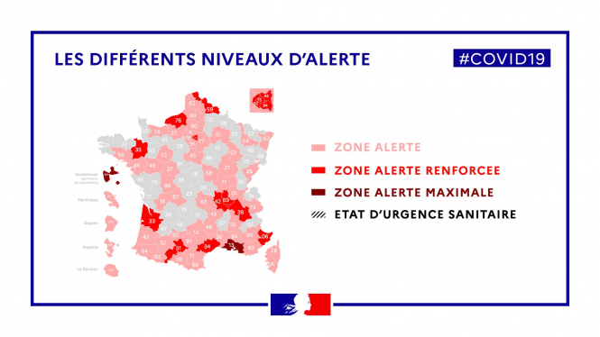 A map showing the different levels of alert in France by department