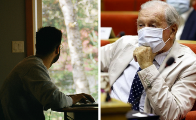 A man works from home and Professor Delfraissy in a mask. Covid variants in France: 'Isolation and lockdown needed'