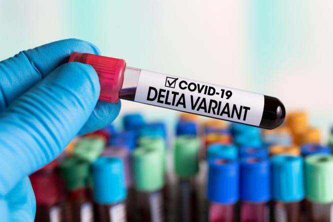 A blood sample marked Delta variant
