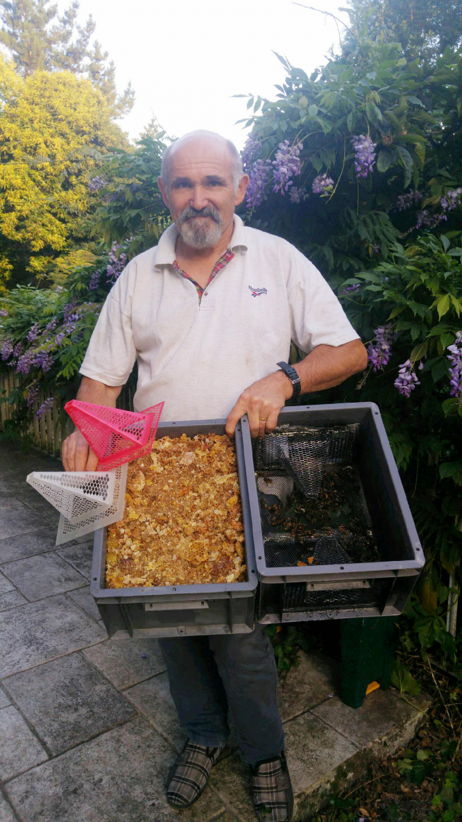 Denis Jaffré with one of  the hornet traps