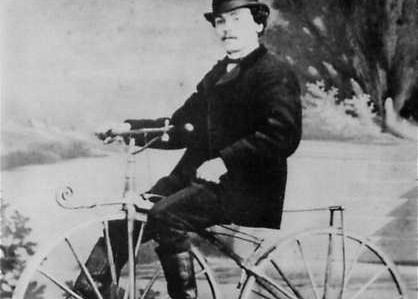Pierre Lallement riding his invention (a bicycle with pedals) in Paris in 1870.