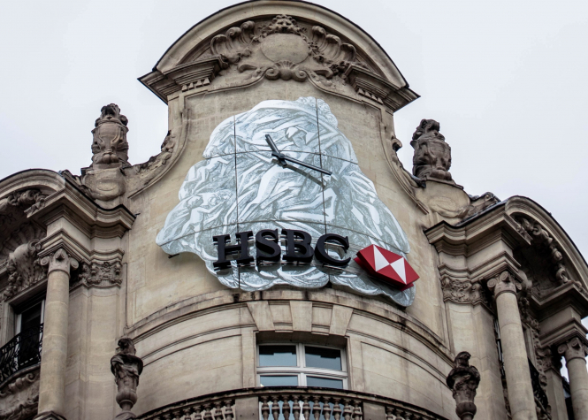 HSBC on Avenue des Champs-Élysées, Paris, France.