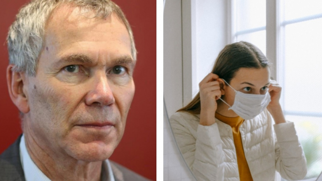 Dr Battistoni and a woman wearing a mask indoors. Top French doctor joins call for mandatory indoor masks.