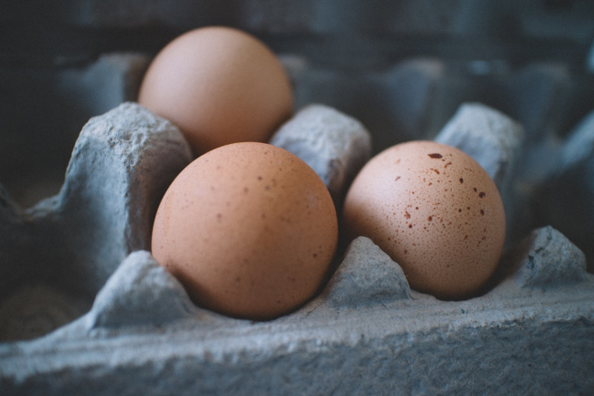 Eggs in a cardboard pack. French technology detects egg embryo sex to save killing male chicks