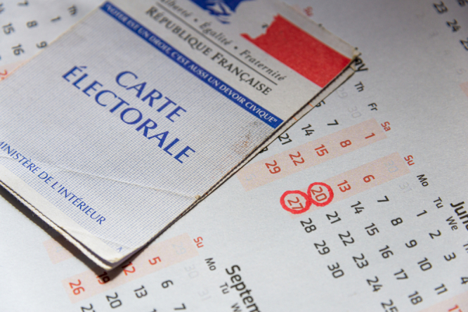 Electoral card and calendar with voting dates. Centre-right surprise success in first-round of France's regional elections
