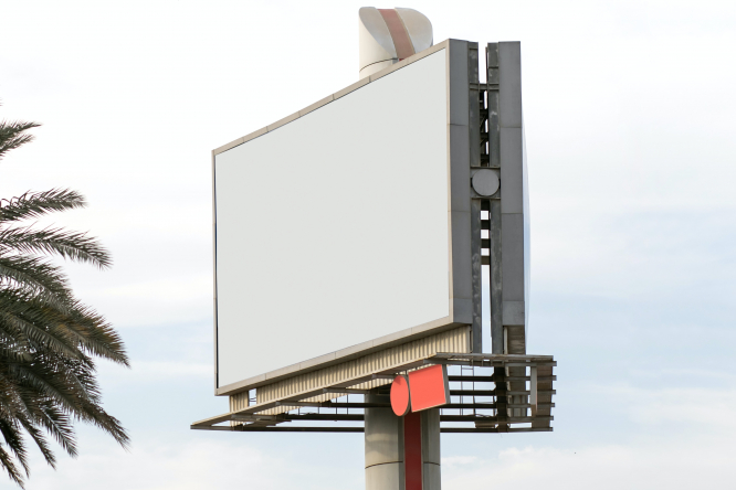 An empty bilboard. A proposed French law suggests advertising should be used to protect the environment.