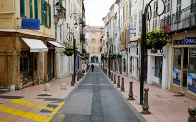 Empty streets in Nice during confinement. Covid France: Rising cases 'sign of third wave' in Nice