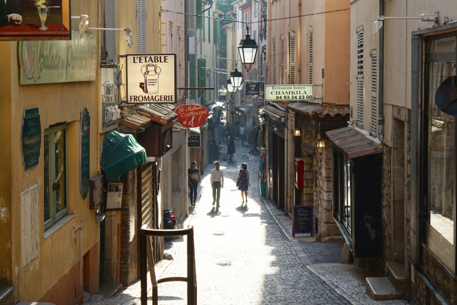 A quaint street in Antibes, France.
