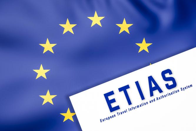 An EU flag with ETIAS