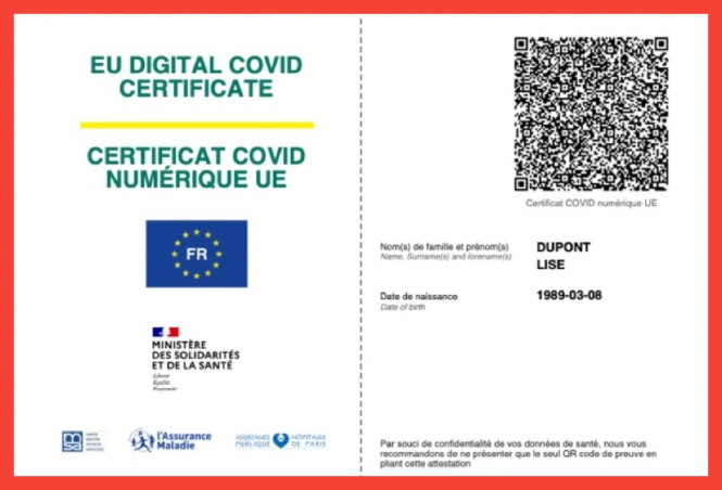 An example of a section of France's Covid-19 vaccination certificate