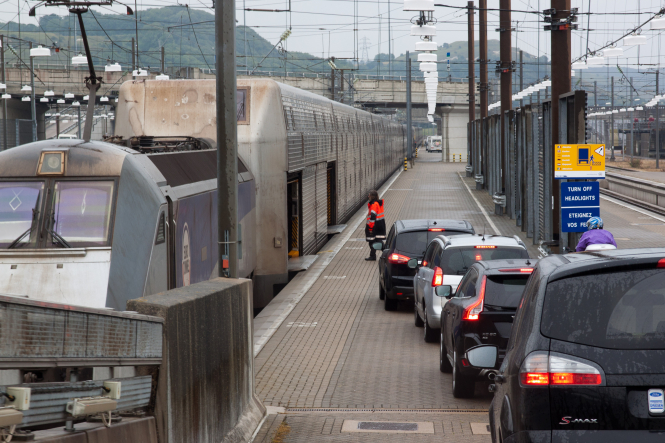 Cars line up at the Eurotunnel