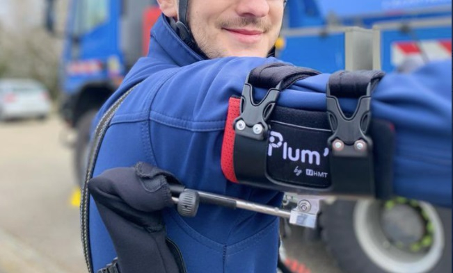 An exoskeleton on an Enedis worker. French start-up makes exoskeletons to support staff in physical roles