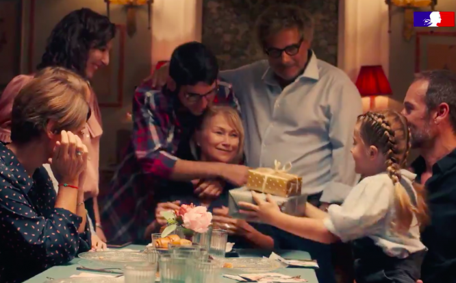 A still from a new government advert showing a family gathering. French government and doctors are call for stricter social distancing.
