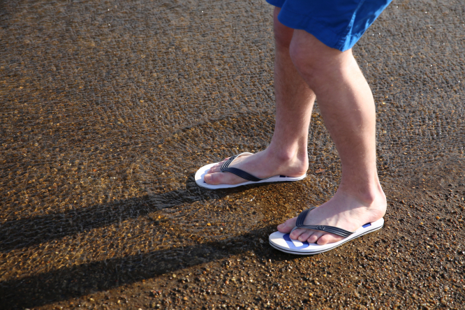 Man in shorts and flip-flops
