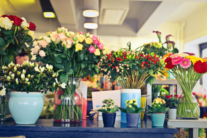 Arrangements of flowers. Surprise flowers for healthcare workers at French hospital