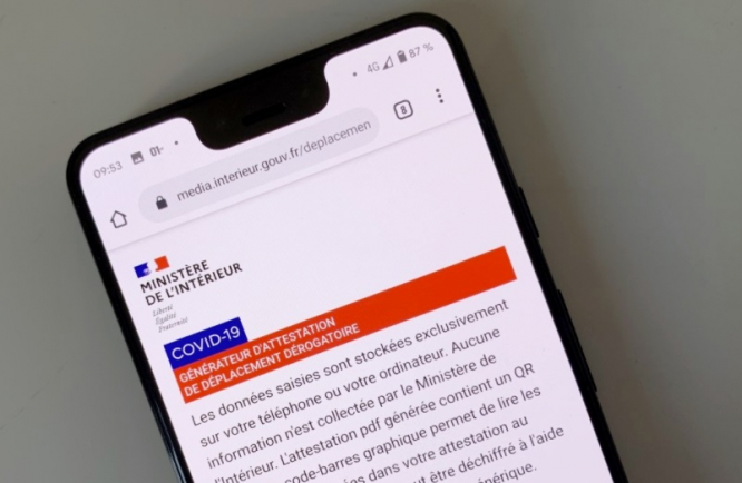 The interior ministry website on a smartphone. France lockdown: The exemption forms you need