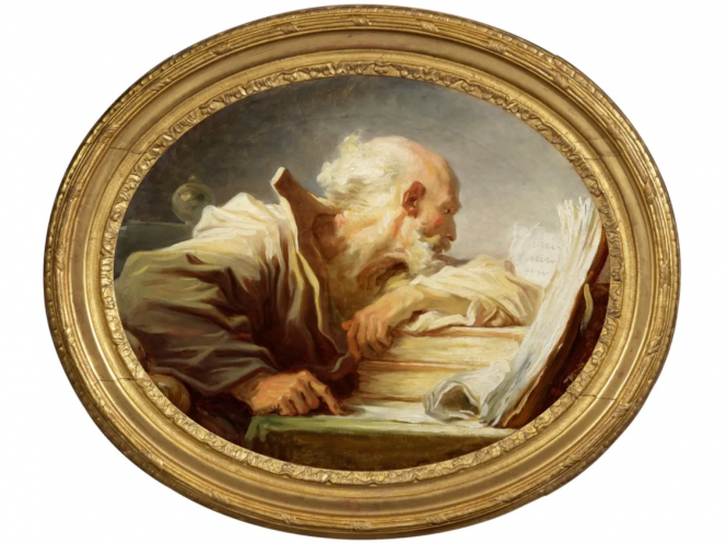 A photo of the Fragonard painting French 'lost' grand master painting was on family's living room wall