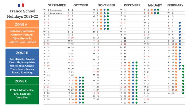 French School Holidays Calendar Academic Year 2021 2022