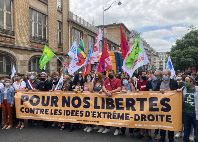 Protesters in Paris. Thousands march across France against rise of 'the far right'