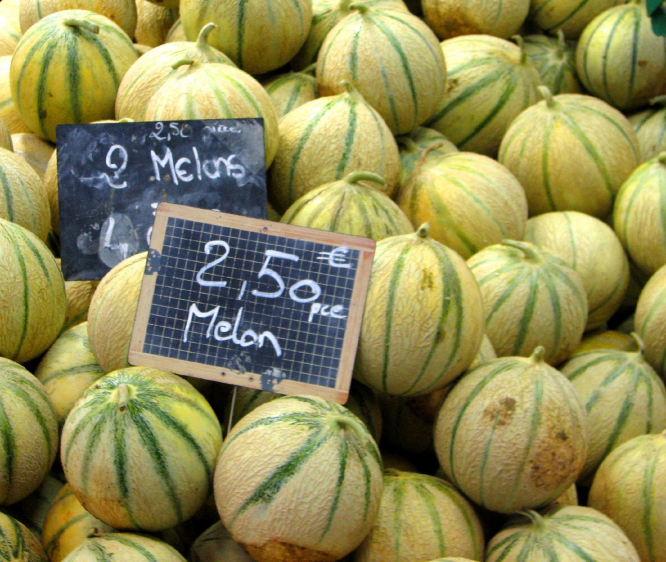 French melons for sale at market