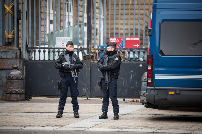 French police can now use Google Maps to prove unauthorised building. Pictured: police in Paris, France.
