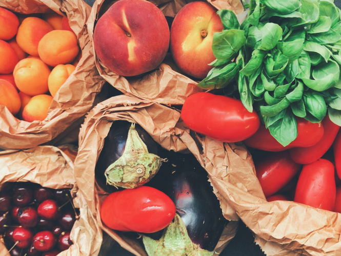 Fresh fruit and vegetables on a table. Organic produce in France 'not cheaper' in supermarkets