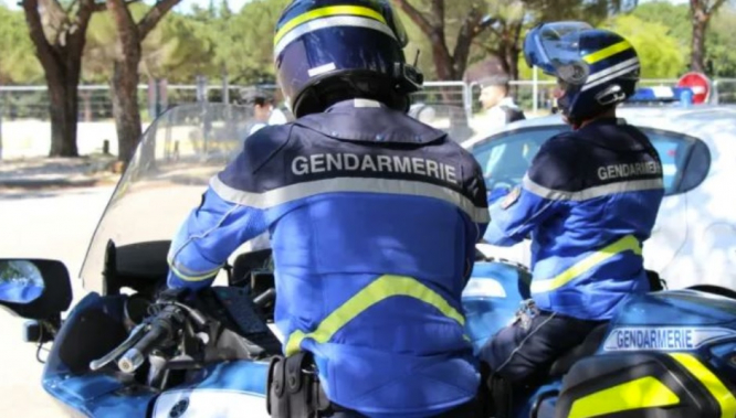 Gendarmerie patrol the roads on motorbikes. French driver caught for insurance 'valid to February 31'