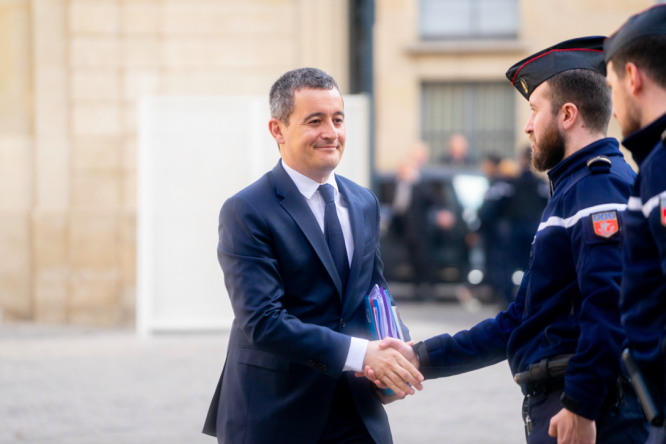 Gérald Darmanin meeting police. Mr Darmanin has been promoted to interior minister in France, even though he is being investigated in an ongoing trial accused of rape.
