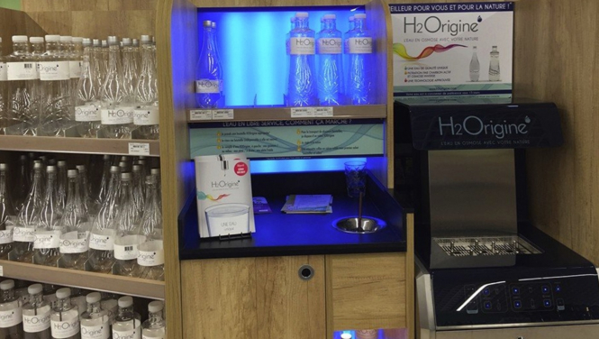 An H2Origine water fountain from Natarys that allows customers to refill containers with water. Self-service filtered water aims to cut France plastic waste