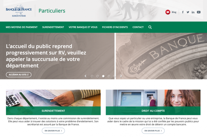A screenshot of the new Banque de France website. You can now apply online for financial aid through surendettement if you have household debt in France