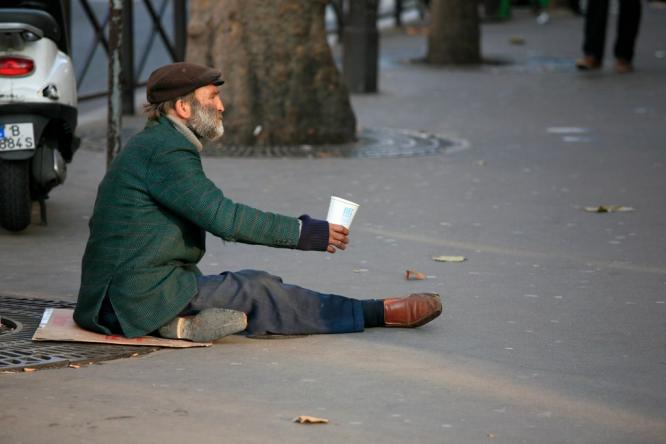 A homeless man in Paris.