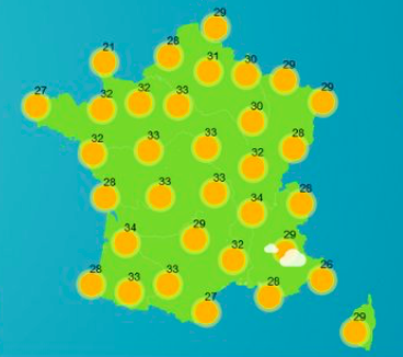 A map showing hot weather forecast in France today, June 24. Temperatures are expected to reach 36° Celsius.