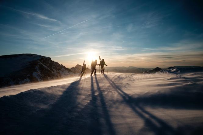 Hikers in Plateau de Bure Interferometer, Le Dévoluy, France