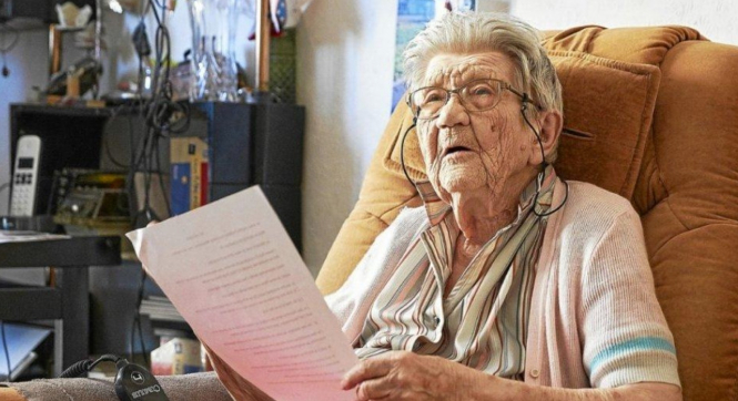 Hélène Wuillemin sits in her home. The 100-year-old woman from Grand Est is on hunger strike to fight for the right to choose when to die