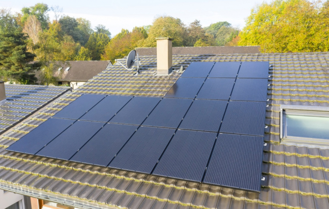 Solar panels on a house roof. Solar panels for your house in France? Get them at Ikea