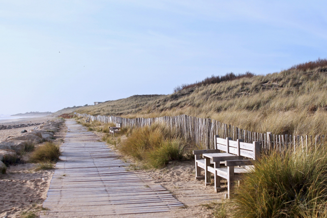 A path next to a sunny, windswept beach on the Ile De Ré. Visitors to island may be eligible for a €100 voucher this summer.