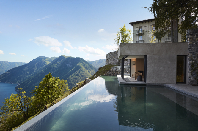 A pool in the garden of a house. Article: Introducing Le Collectionist, a collection of luxury holiday home rentals. Photo from Connexion October print edition