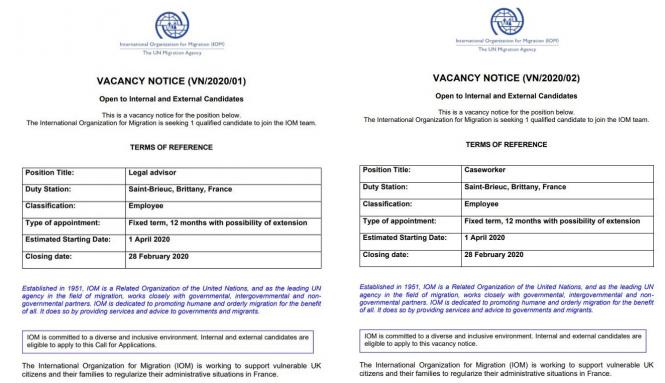 Screenshot of the job offers
